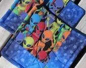 Blue Potholders -- Extraterrestrial Potholders in Neon Colors -- 2 sets of 2