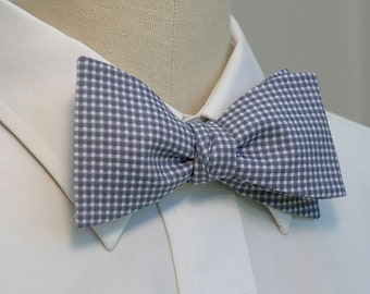 Men's Bow Tie in grey and white mini-gingham(self-tie)