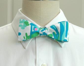 Men's Bow Tie, turquoise & aqua bow tie, Lilly fabric bow tie, wedding party bow tie, beach wedding bow tie, groom bow tie, prom bow tie,