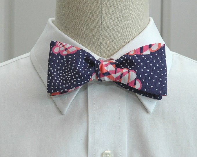 Men's Bow tie, Great Escape navy and pinks Lilly print bow tie, wedding bow tie, groom bow tie, groomsmen gift, prom bow tie, tux accessory