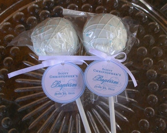 "Baptism and Christening Custom Paper Favor Tags - For Cake Pops - Lollipops - Cookies - Catholic Party Favors - (50) 1.5"" Printed Gift Tags"