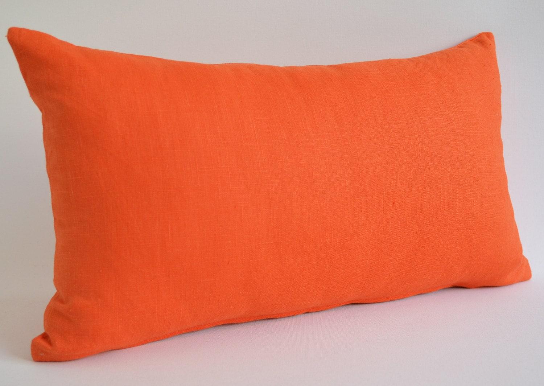 Sukan / 1 Orange Linen Pillow Case 20x36 pillows by sukanart