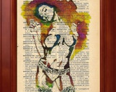 ORIGINAL AND UNIQUE ---- Nude - Print of a my painting on a page original of Italian dictionary of 1938