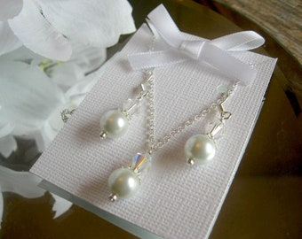 Swarovski Crystal and Pearl Pendant Chain Necklace and Earring Set - Bridesmaid or Brides Jewelry Set