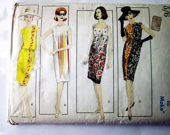 60s Vogue 6154 Slim Shift Dress Below Knee Length, Sleeveless - Size 16 Bust 36