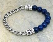 Navy Blue Beaded Bracelet - Biker Chain - Links - Dolce Vita