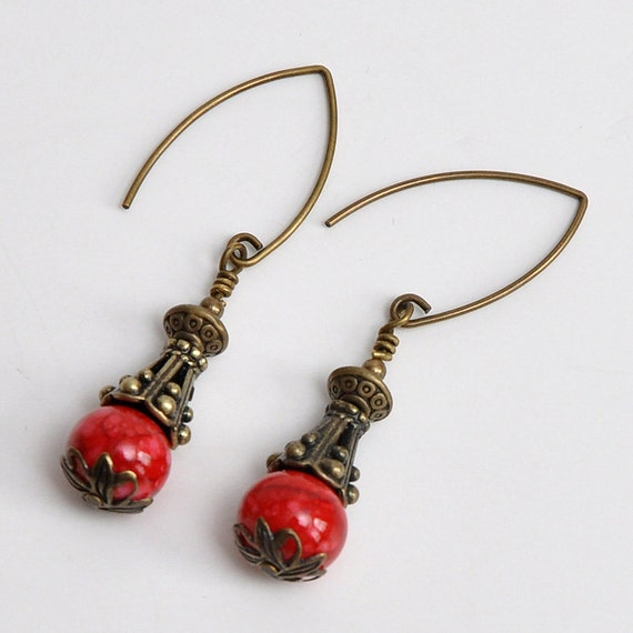 Red Marbled-Victorian Style-Antique Brass-Dangle Earrings