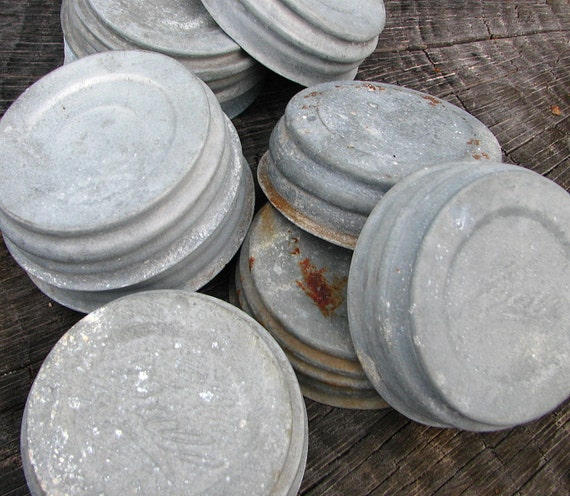 zinc mason jar lids -- ball jar tops with milk glass inserts -- set of three