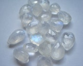 Rainbow Moonstone Briolettes - 7X10MM Top Drilled- 2 total