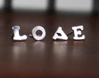 Letter Earrings in Sterling Silver