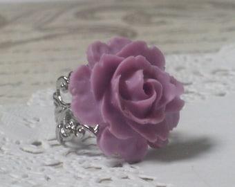 Romantic Lavender Blooming Rose Ring - Silver Adjustable Filigree Band