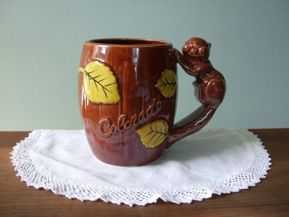 Colorado Vintage Mug with Squirrel Handle and Yellow Leaves