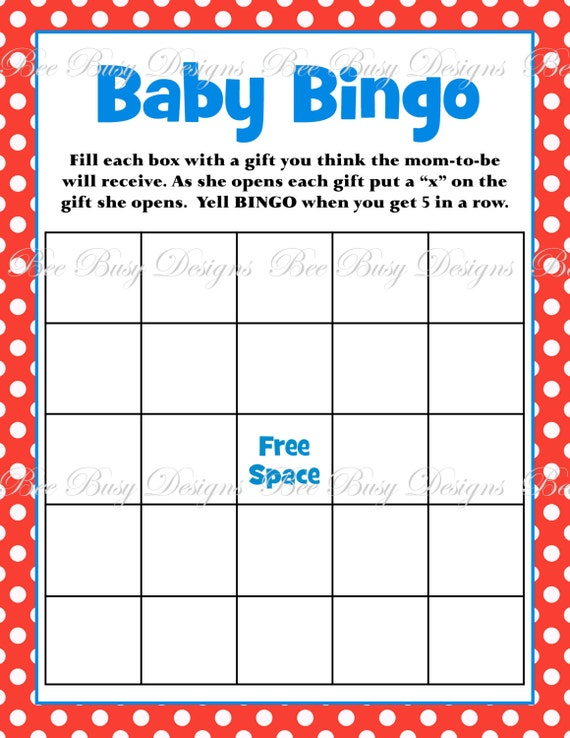 Printable dr seuss inspired red blue baby shower bingo game instant