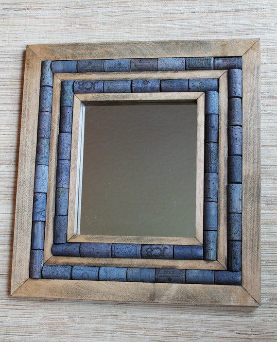 mirror with wine cork frame recycled mirror upcycled home decor reclaimed wood