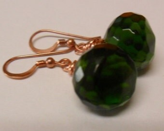 Simple Dangle Emerald Green Faceted Onion Quartz Glass Copper  Earrings-Free Shipping