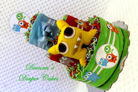 Little Monsters Baby Diaper Cake Shower Gift or Centerpiece