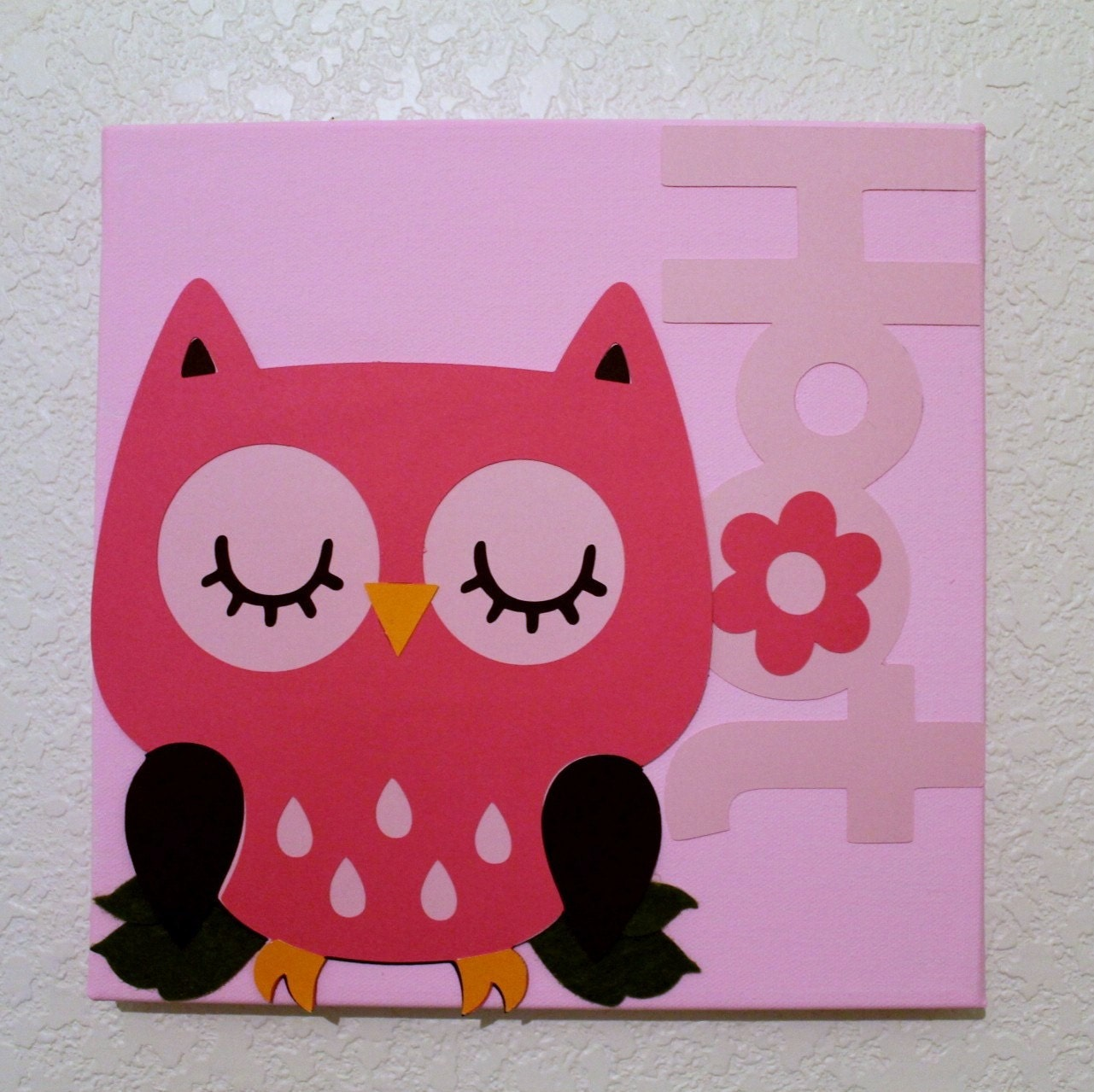 Wall decor pink owl baby nursery kids children room decor for Pink wall art