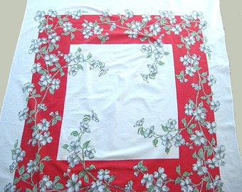 Mid-Century Tablecloth, Printed, Bright Red & White Dogwood, Heavy White Cotton, 46 x 53, Excellent Vintage Condition