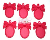Hot Pink Bow Resin Setting - 18 X 25 mm - Set of 6