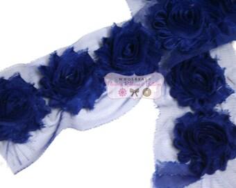 Royal Blue Shabby Rose Trim - Shabby Flower Rose Trim…Chiffon Flower..Rose Trim..Wholesale Shabby Chiffon Trim