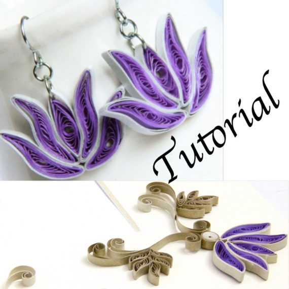 Paper Quilling Tutorial for Jewelry PDF Lotus Flower and Lotus Frame Design DIY Wedding