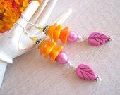 Orange Flower Earrings, Pink Pearl Earrings, Orange & Pink Earrings, Colorful Jewelry