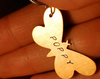 Pet Name Tag / Key Ring -  Hand Stamped Butterfly