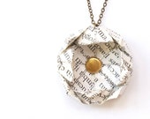Book pages necklace - upcycled origami flower - back to school