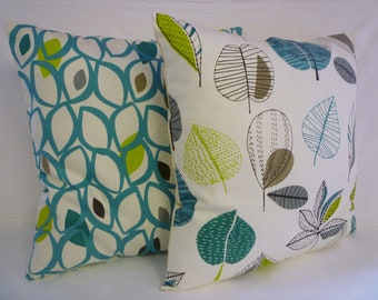 BIG Funky Retro Teal Green Gray White Designer 22x22 Cotton Cushion Cover's.Pillowcases Shams Slips