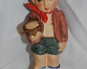 Vintage Blue Eyed Farm Boy with Piglet Figurine from Davar Originals of Japan