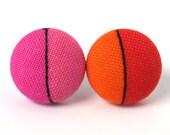 Post earrings studs pink orange tangerine black unique funky