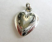 Heart shaped sterling silver charm, vintage silver pendant in excellent condition