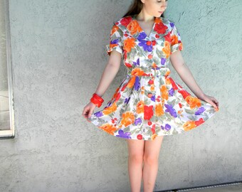 Womens Shirtwaist Dress - Vintage 80s does 50s Orange Red White & Purple Tea Dress w chunky red buttons, Party Costume, M Medium, Mini Dress