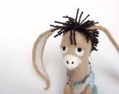 Nestor - The Long-Eared Christmas Donkey. Art Toy. Felt Marionette. Felted Puppet. Stuffed . Special order for   Steven