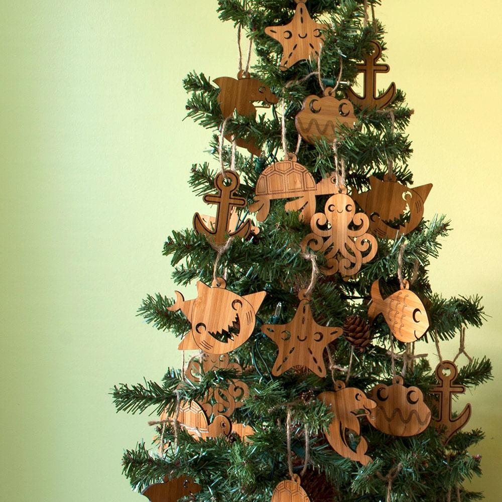 Christmas Tree Ornaments Etsy: Wooden Christmas Ornaments Kids Nautical Ocean Beach Starfish
