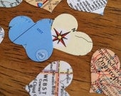 novel wedding confetti - set of 500 heart shaped confetti hand stamped from a vintage world atlas