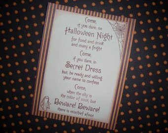 Halloween Invitation - Costume Party - Spooky - Black Cat - Spider Web - Set of Five