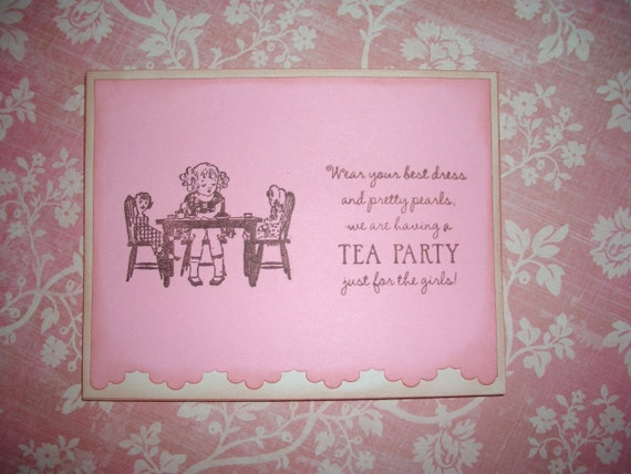 Tea Party Invitation with Envelope and Sticker Seal - Handmade - Set of Five