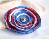 CLEARANCE - all must go, Fabric Flowers Royal Blue Red White Fabric Flower brooch, Flower brooch, Fabric brooch, Nautical Jewelry
