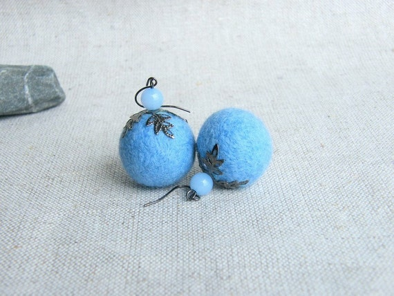 BUY 2 GET 1 FREE    Light Blue Felt earrings Natural Soft Felted Balls Pastel Blue Felt Jewelry Fall Fashion Autumn trends