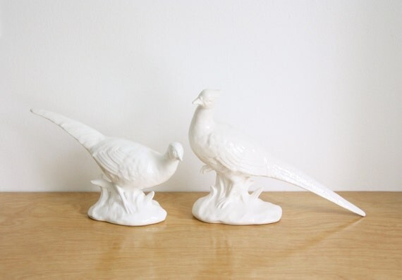 Vintage Pair of White Porcelain Birds, Japan