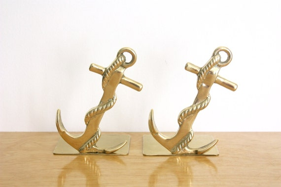 Vintage Pair of Brass Anchor Bookends