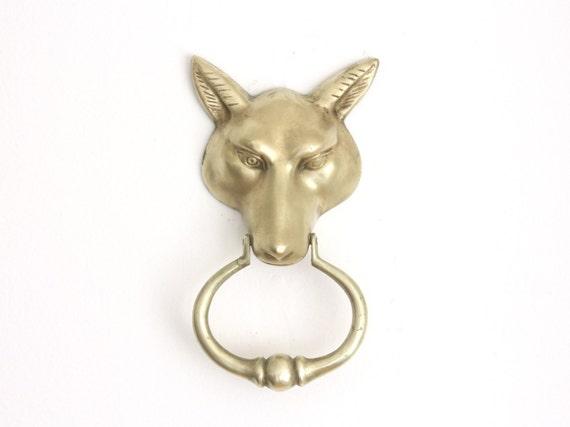 Vintage brass fox door knocker and back plate by estateeclectic - Fox head door knocker ...