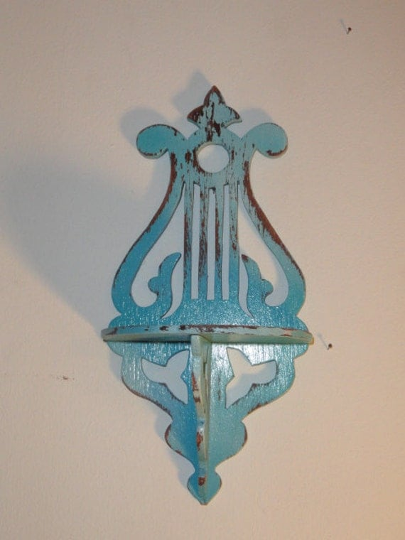 Vintage Blue Wood Shelf Musical Harp rustic wall hanging