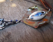 Lampwork Goddess Symbol Necklace with Copper, Sterling, Lapis, Moonstone, Silk and Kangaroo Leather. Australian Made SRA