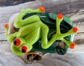 Handmade Lampwork Glass Frog Bead.  Silver glass. Fern leaf background.  Australian Made SRA