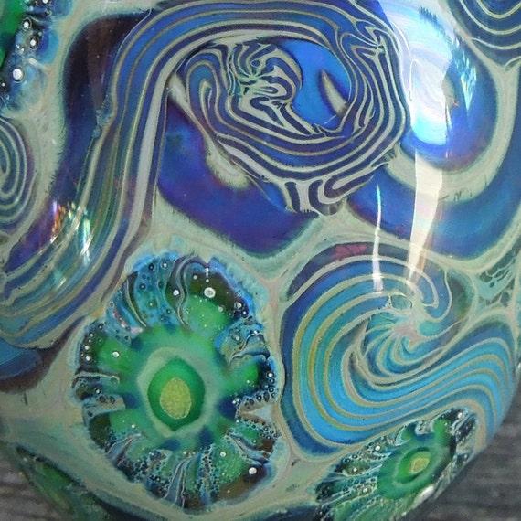 Destash... Handmade lampwork glass bead, Pendant bead. Silver glass, murrini. Hollow Bead. SRA  Made in Australia