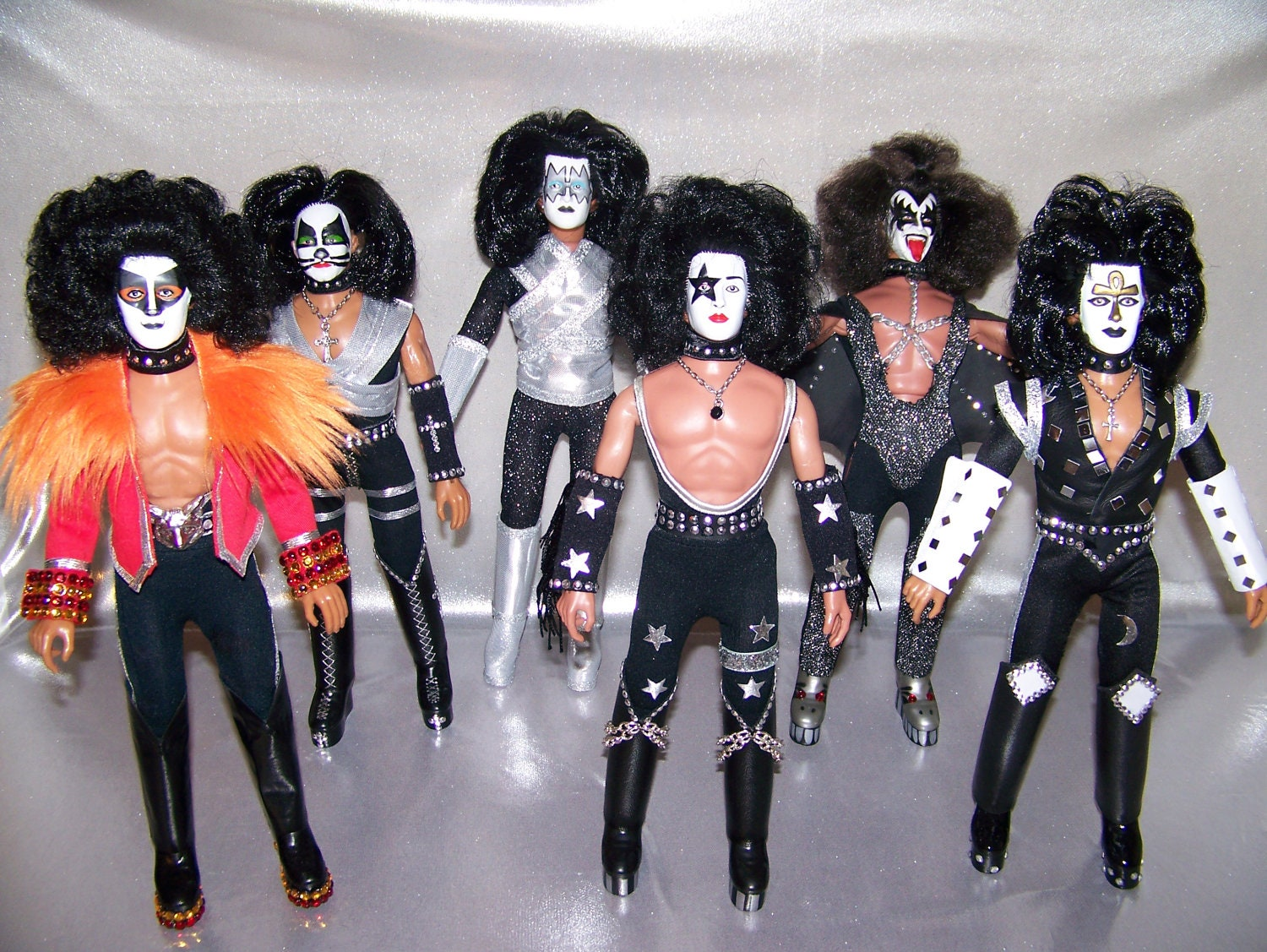 Custom Mego KISS Dolls Set of 6. From adensattic