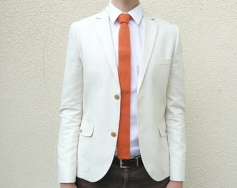 Mens Orange Knit Tie