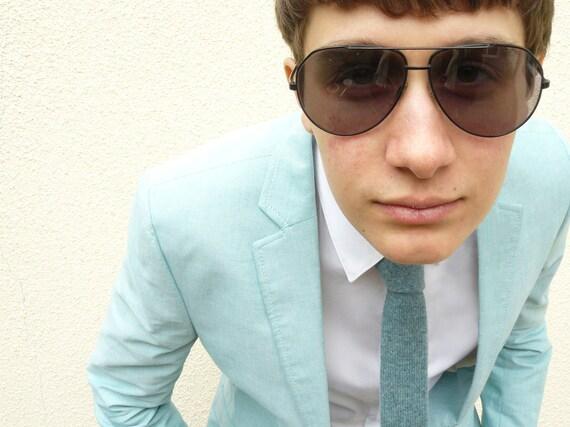 Mens Knitted Necktie Caspian Blue